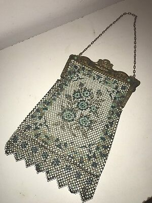 Antique Art Deco Mandalian Gold Enamel Mesh Purse