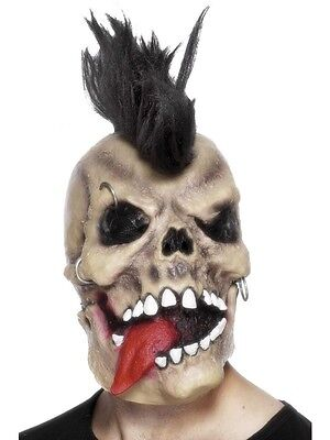 Men's Punk Rocker Skull Mask & Hair Halloween Ghost Rider Fancy Dress Stag Theme