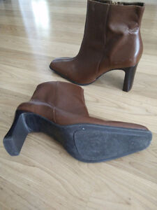 Leather ,Ankle High Heel Booties size 6.5
