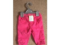 NEW 3-6months girls trousers