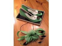 Green Wedding Hat and Matching Shoes or Matching Facinator £70 (with hat)£60(with Fascinator)