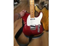 Fender Telecaster Electric Guitar & Amplifier - Candy Red & White