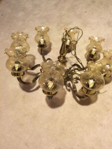 VINTAGE CHANDELIER OF SOLID BRASS WITH EIGHT GLASS SHADE LIGHTS