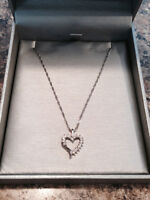 14K White Gold Necklace and 10K Gold Heart Pendant