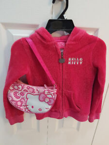 Hello Kitty Girls Pink Hoodie with Hello Kitty Purse