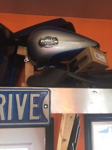 Harley tanks  hard bags and assorted mufflers