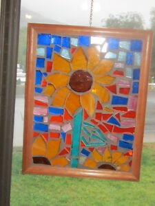 Sunflowers mosaic stained glass