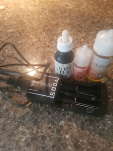 3 vape juices with a battery charger(2 at the time)