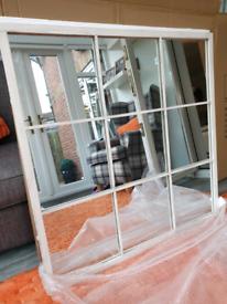 Gorgeous rustic shabby vintage white metal industrial window mirror