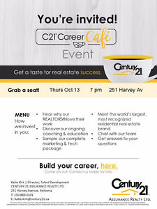 Century 21 - Career Cafe Night - Oct 13 @ 7pm - RSVP required
