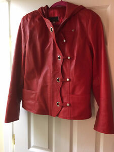 Red Leather hooded Jacket-XL fits like L