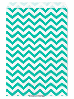 100 Flat Merchandise Paper Bags 6 X 9 Teal Chevron Stripes On White
