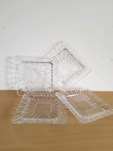 Crystal Dessert Square Plates Set of 4 - $25