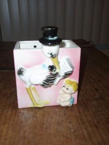 ~Vintage Shafford Porcelain Stork and Baby Wall Pocket / Planter