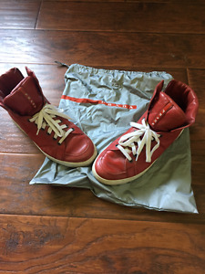 Men's Prada Red Leather High Top Sneakers