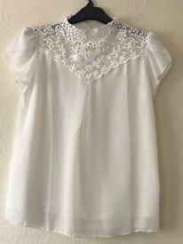 Beautiful intricate ladies white chiffon blouse with lace collar detail