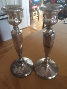Antique Pair of Tall Sterling Silver Candle Holders