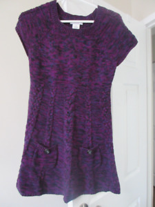 Purple sweater dress with pockets