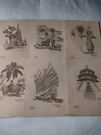 Set of 23 Vintage Prints in Canadian Tour Folder. Can be viewed!!