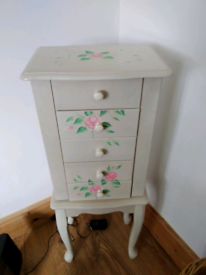 Vintage style jewellery box on legs, white with floral pattern