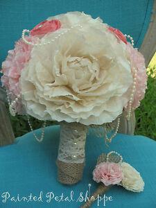 Coffee Filter Bridal Bouquet/Rustic Wedding/Peach & Cream Belleville Belleville Area image 3