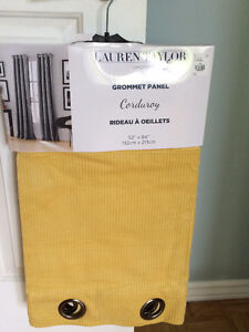 Warm Yellow Corduroy Grommet Curtains (new)