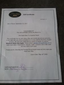 Prestige Hotel Gift Certificate
