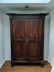 Antique Mahogany-Style Wardrobe