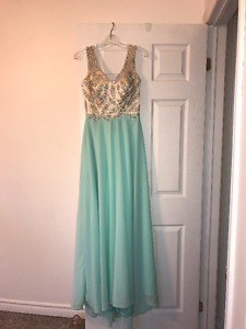 Teal Beaded Prom Dress