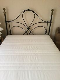Wrought iron double bedstead with mattress