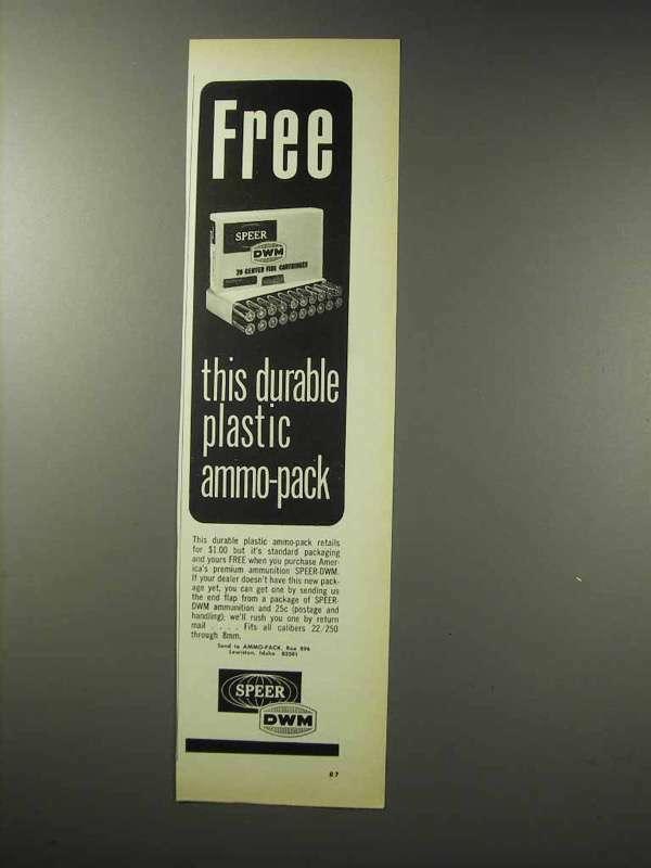 1969 Speer DWM Ammunition Ad - Plastic Ammo-Pack