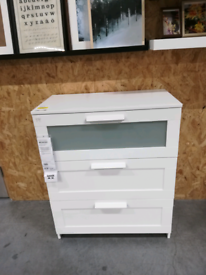 BRIMNES Chest of 3 drawers, white/frosted glass78x95 cm, IKEA Reading