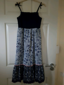 Girls Age 10-11yrs Navy And Light Blue Floral Maxi Dress