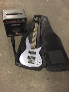 Silver Ibanez 5-String Bass SR305 DX with Peavy 20W Amp & Case