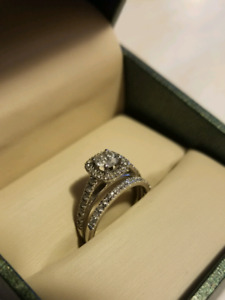 14KT Engagement Ring Set - 1ct total diamonds