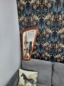 "Retro mirror, mid-century style Asymmetric shape - 30"" long x 14"" wid"