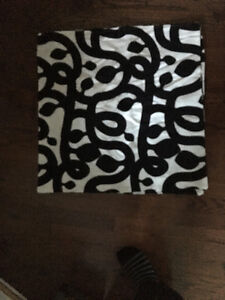 Cushion covers - black and white - 26 inches square