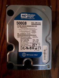 500 Gb Western Digital SATA 7,200 rpm hard drive