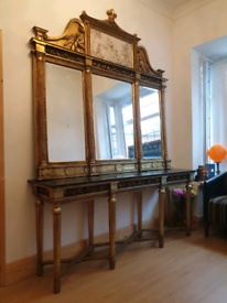 LARGE MIRROR AND CONSOLE TABLE