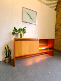 Mid Century Vintage Bookcase with Lights