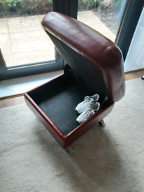 Genuine leather puff seat and storage