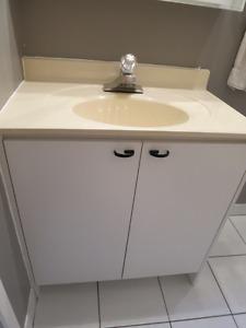 Vanité, comptoir lavabo, robinet, drain.