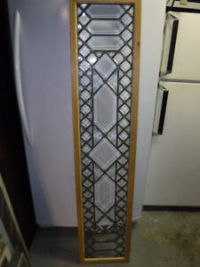 VINTAGE BEVELLED LEADED GLASS WINDOW WITH FRAME