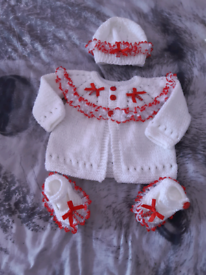 Hand Knitted 3 Piece Red/White Lace set