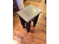 Little drinks / lamp / side table vintage effect quirky unusual black and silver