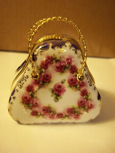 Unique and Decorative Porcelain Purse Shaped Trinket Box.