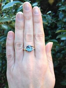 Rare Natural Spinel & Diamond Ring 14ct Gold Sz L 1/2 $5,000 VAL Neutral Bay North Sydney Area Preview