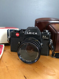 LEICA R3 Electronic FILM Camera, case and 1:2/50mm 3 cam lens.