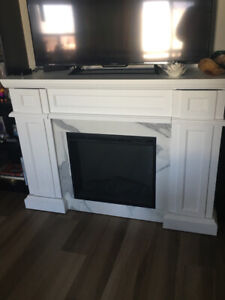 Modern Electric Fireplace with Storage (Pickup Only)