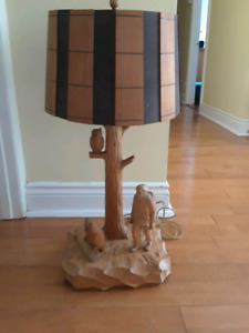 Hand carved solid wood lamp by Noe Shay
